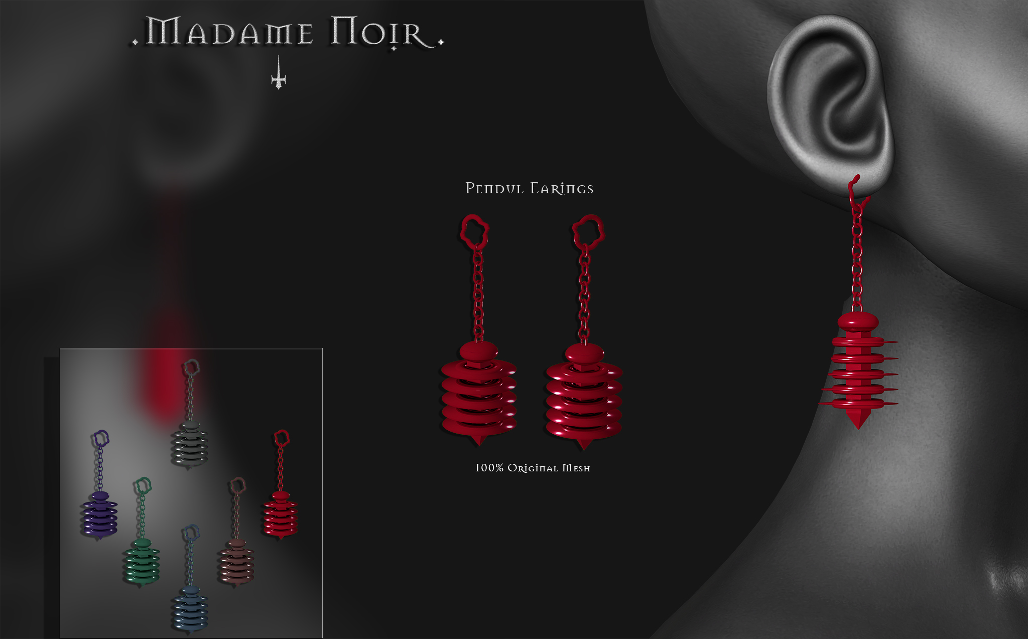 Madame Noir - Pendul Earrings