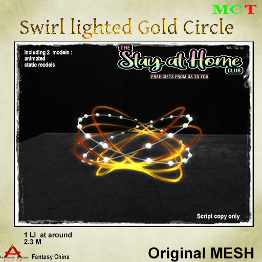 Fantasy China - Mesh Swirl lighted Gold Circle
