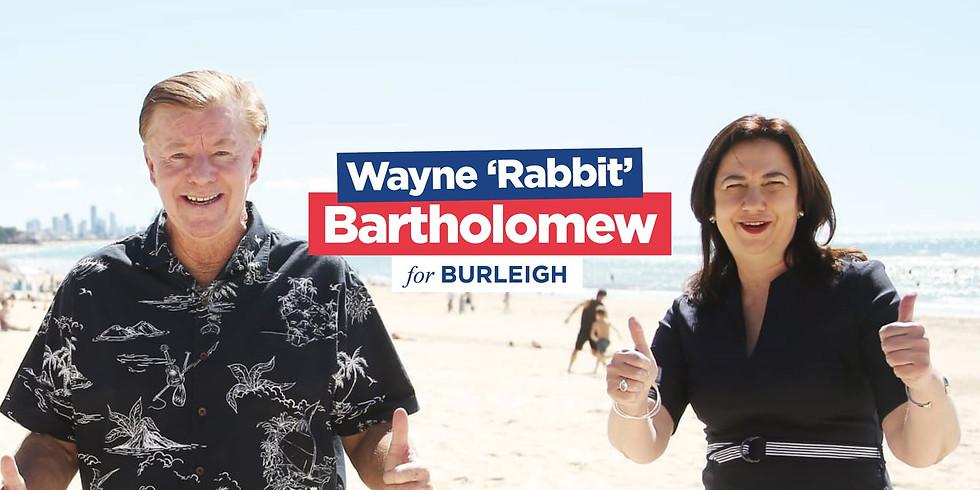 WAYNE RABBIT BARTHOLOMEWS official Campaign launch for Burleigh