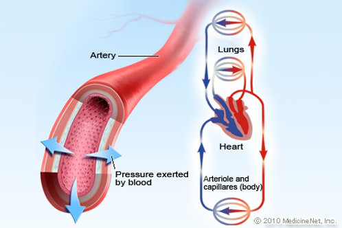 Lowering blood pressure with medication.