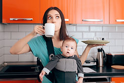 Busy Multitasking Mom with Baby, Coffee