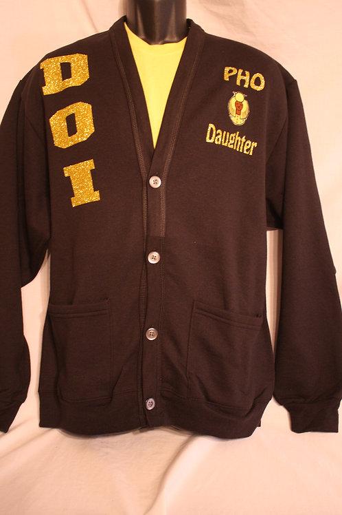 DOI PHO rhinestone logo cardigan sweater