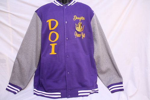 DOI PHA Prince Hall Daughters varsity jacket with embroidered logo emblems