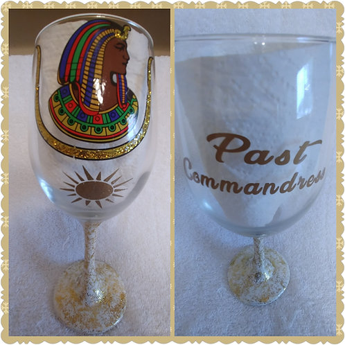 Past Commandress Daughter DOI Prince Hall logo glassware with sundial image