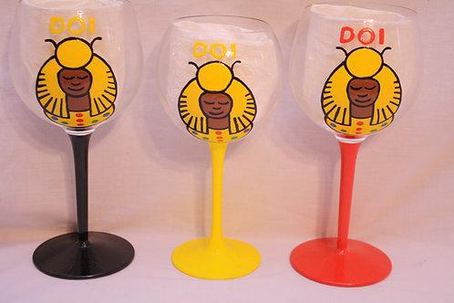 DOI PHO logo hand painted glassware
