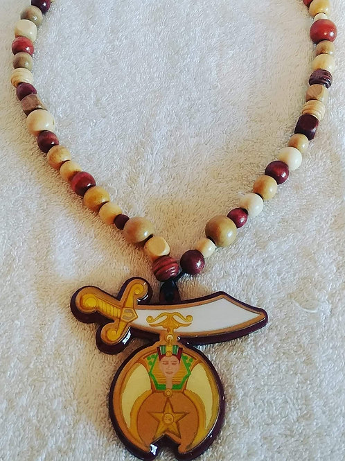 Shriner scimitar full color wood logo tiki necklace strung on wooden beads