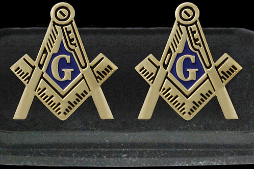 Mason compass & square gold tone logo cuff links