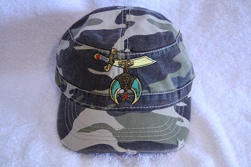 Shriner camouflage adjustable ball cap with scimitar logo emblem