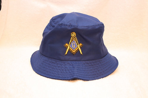 Mason bucket floppy hat with compass & square logo emblem