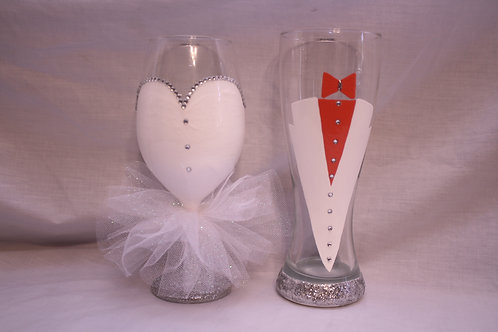 Bride & Groom hand painted rhinestone glassware