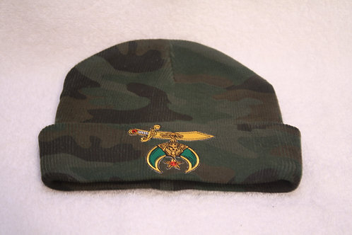 Shriner camouflage knit hat with embroidered scimitar logo emblem