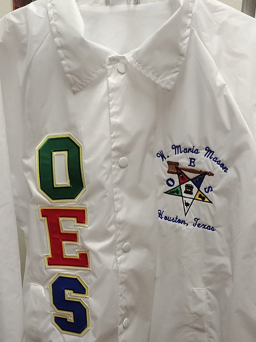 OES Order of The Eastern Star with gavel embroidered logo nylon line jacket