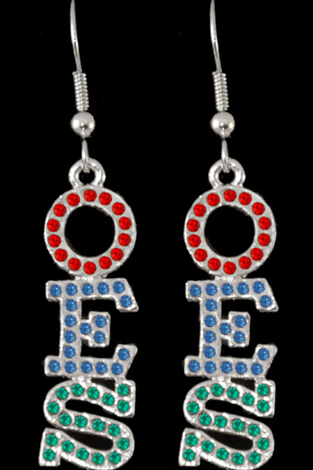 OES - Order of the Eastern Star silver earrings