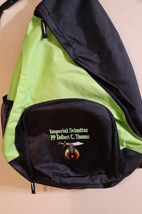 Shriner scimitar embroidered logo sling backpack (larger size)