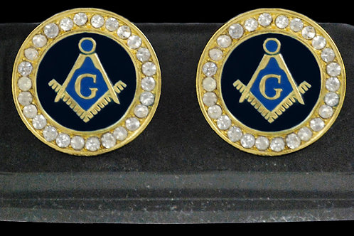 Mason rhinestone cuff links gold