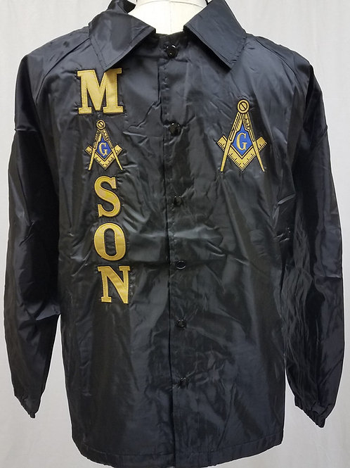 Mason nylon black line jacket with Square & Compass embroidered logo emblems