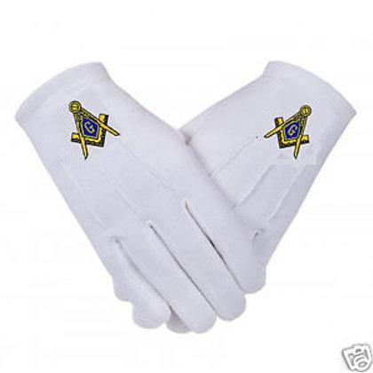Mason compass & square logo white gloves