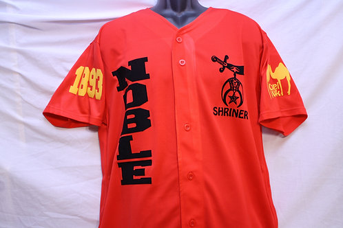 Noble/Shriner baseball button up jersey shirt with scimitar and camel images