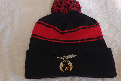 Shriner cuffed knit beanie top pom hat has embroidered Scimitar logo