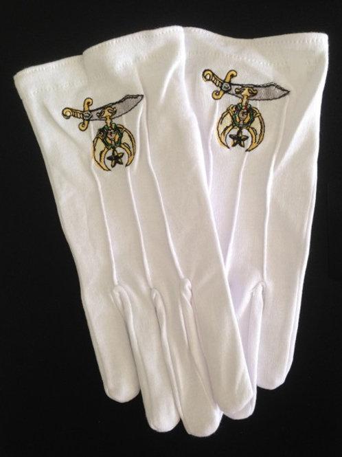 Shriner scimitar logo cotton white gloves