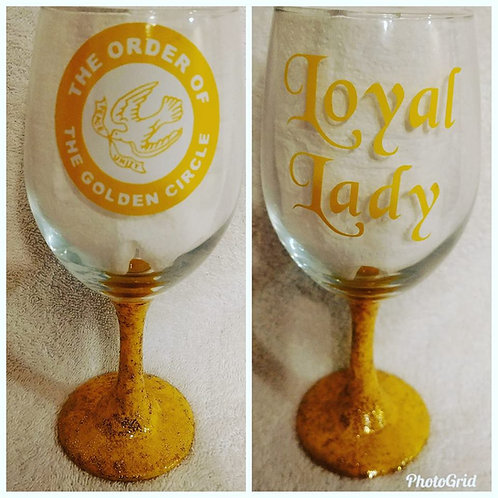 Order Of The Golden Circle logo glassware for the Loyal Lady