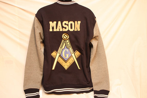 Mason two tone varsity jacket with embroidered logo emblem