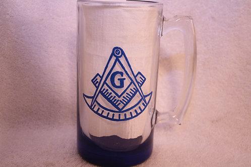 Past Master Mason hand painted glass stein/mug
