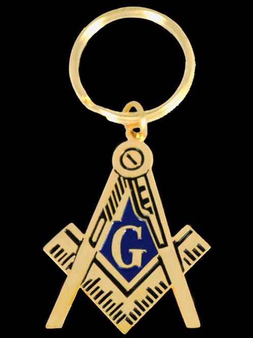 Mason compass & square gold tone key chain