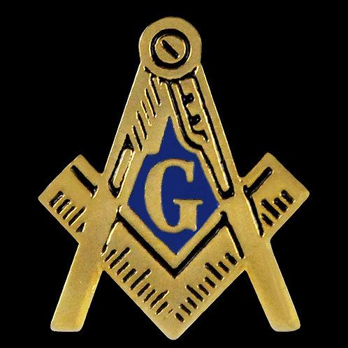 Mason compass & square gold tone lapel pin