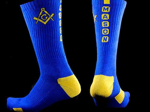 Mason compass & square logo calf length socks
