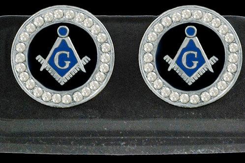 Mason rhinestone cuff links silver tone