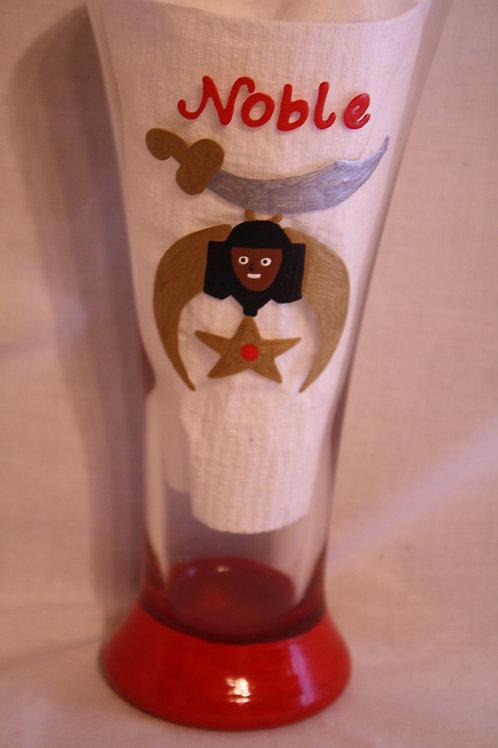 Shriner/Noble logo hand painted pilsner glassware