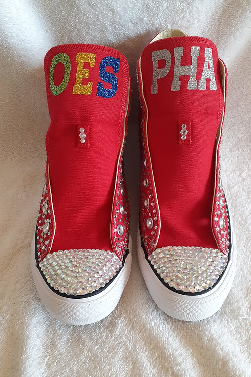 OES - Order of the Eastern Star Converse Chuck Taylor hi-tops tennis shoes