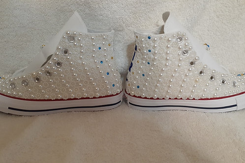 Pearl embellished custom Converse Chuck Taylor high tops tennis shoes