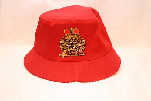 32nd & 33rd Consistory Mason Wings Down bucket floppy hat with logo emblem