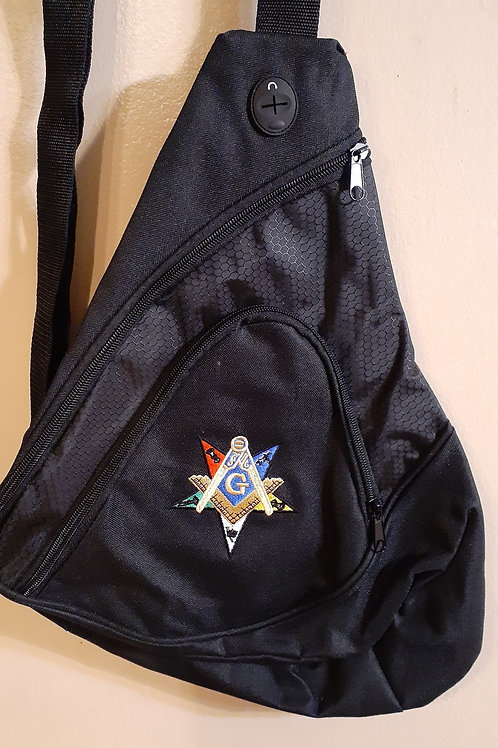 Masonic Patron embroidered logo sling backpack (smaller size)