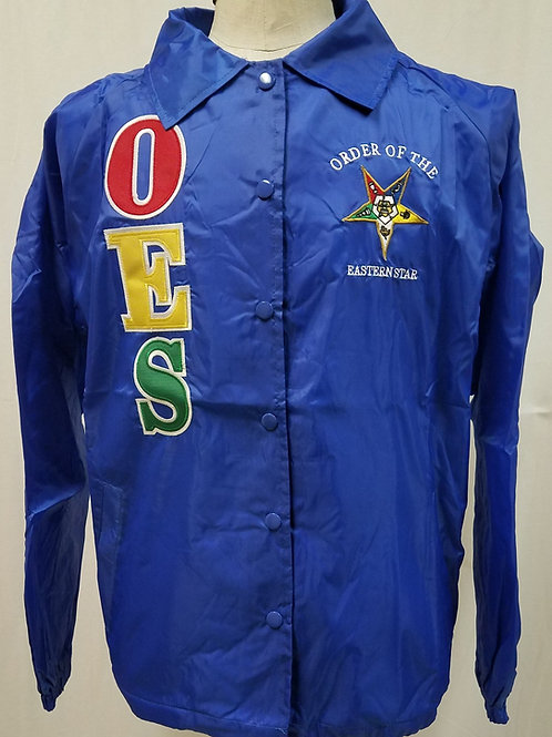 OES -Order of The Eastern Star nylon royal blue line jacket has embroidered Star