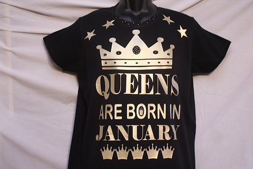 QUEENS & KINGS Are Born in birth month shirt