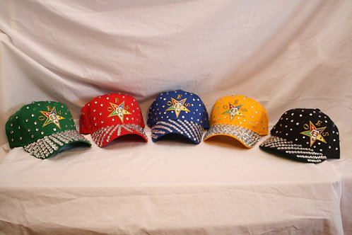 OES - Order of the Eastern Star rhinestone adjustable closure ball caps