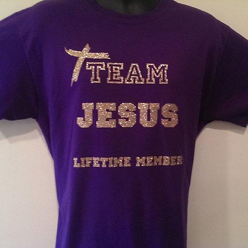 TEAM JESUS Lifetime Member bling t-shirt