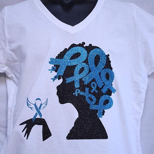 Ovarian cancer afro Diva with teal/turquoise awareness ribbons shirt