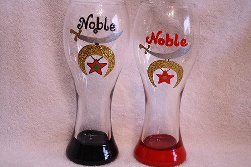 Noble hand painted Shriner scimitar pilsner glass