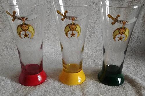 Shriner pilsner glassware with Scimitar image for the Nobles