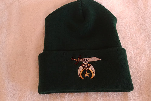 Shriner cuffed knit beanie hat with embroidered Scimitar logo