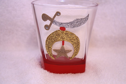 Noble hand painted glass with Shriner scimitar