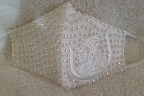 DOI PHA Daughter embroidered white logo Pearls embellished face mask