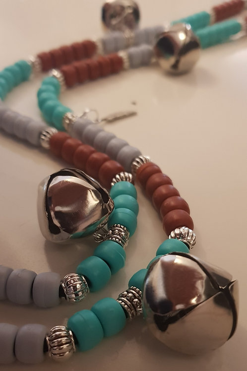 Detail of bells and silver accent beads Brave Rhythm Beads by Time Bandit