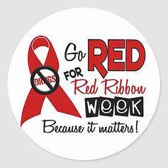 go_red_for_red_ribbon_week_round_sticker