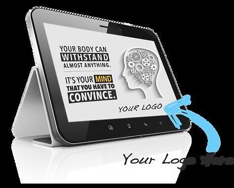 AdvantageDC's Custom branded marketing materials on a tablet