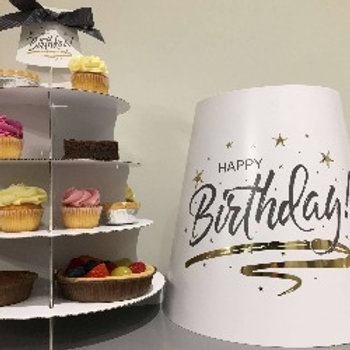 10  Assorted Cakes in Happy Birthday Tea Caddy